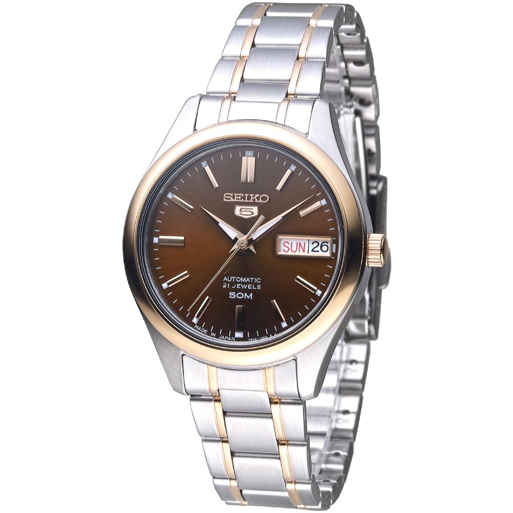 SEIKO 完美情人自動機械腕錶(SNK878J1)-巧克力色/35mm