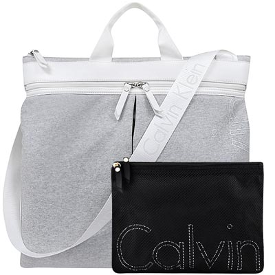 Calvin Klein 淺灰色LOGO字樣輕量托特包-附手拿包