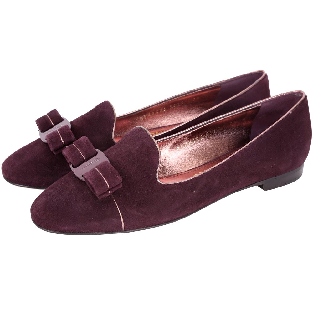 Salvatore Ferragamo SCOTTYPIPI鑲邊麂皮樂褔鞋(紫紅)