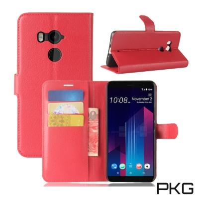 PKG HTC U11-PLUS 側翻式皮套-經典皮套系列-時尚紅