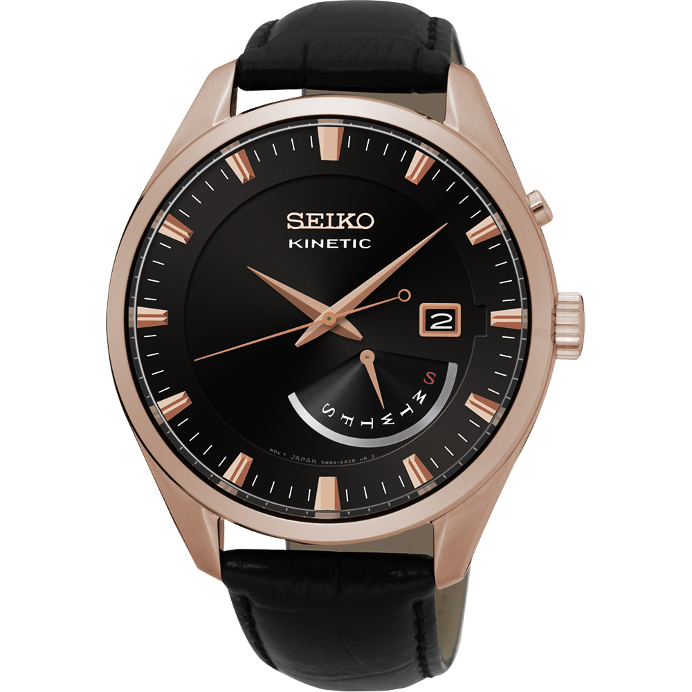 SEIKO Kinetic 日曆人動電能腕錶(SRN078P1)-黑x玫瑰金框/42mm