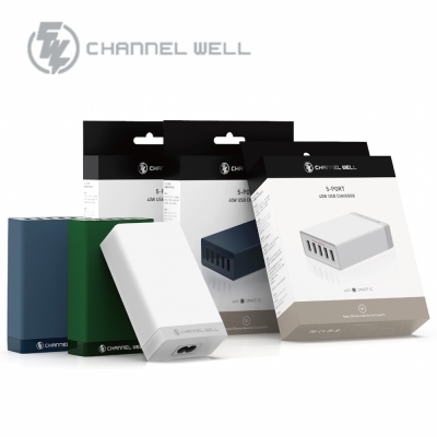CHANNEL WELL 40W 5埠USB快速充電器 (深墨綠)