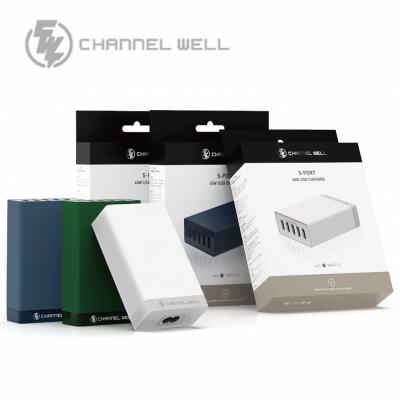 CHANNEL WELL 40W 5埠USB快速充電器 (海軍藍)