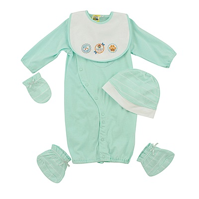 愛的世界 MYBABY 純棉小狗長袖兩用嬰衣5件組禮盒/3~6M