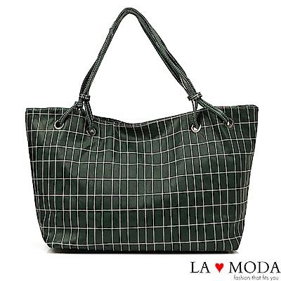 La Moda 超大容量多way格紋車線肩背斜背托特包(綠)