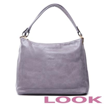LOOK - Miya米亞 雙袋口肩背包-優雅灰