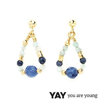 YAY You Are Young  法國品牌 Cleo 藍寶石耳環 水滴墜設計 金色