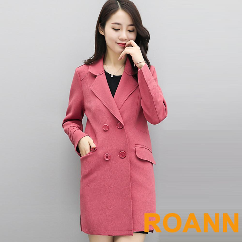 純色大翻領雙排釦長袖風衣外套 (共三色)-ROANN