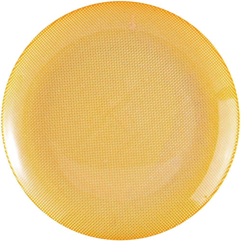 EXCELSA Diamond菱紋玻璃淺餐盤(黃25cm)