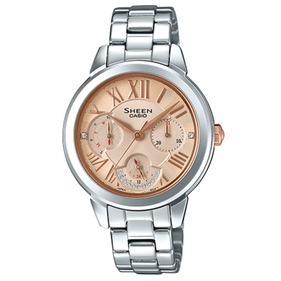 SHEEN優雅迷人風采羅馬數字時刻腕錶(SHE-3059D-9)香檳金粉面41.3mm