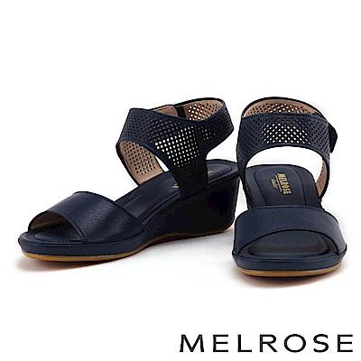 涼鞋 MELROSE 經典一字方形沖孔牛皮楔型涼鞋-藍