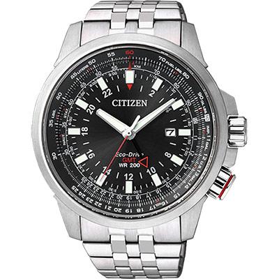 CITIZEN PROMASTER 光動能雙時區腕錶(BJ7071-54E)-黑/46mm