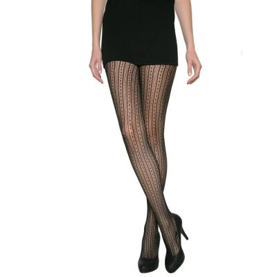 法國DIM-MOD-時尚-系列直條網狀花紋造型褲襪-012M-黑