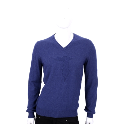 TRUSSARDI 藍色羊毛浮印圖騰長袖V領上衣(50%WOOL)