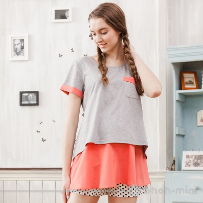 【ohoh-mini 孕婦裝】簡約雙色拼接圓領上衣(兩色)