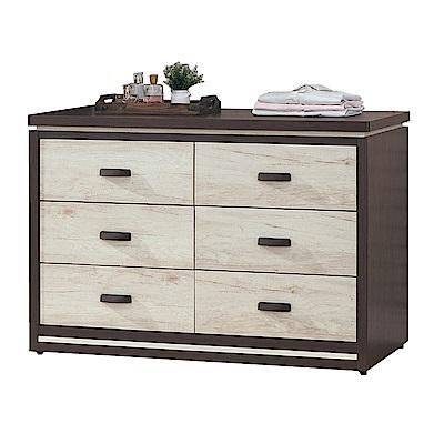 品家居 伊蒂絲4尺木紋雙色六斗櫃-120x55x82cm免組
