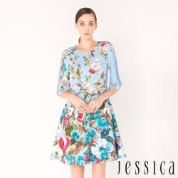 JESSICA - 紛花戀曲印花蕾絲拼接洋裝