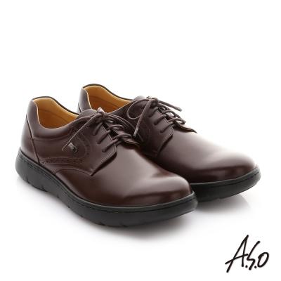 A.S.O 職場通勤 超能耐油感牛皮綁帶紳士皮鞋 咖啡色
