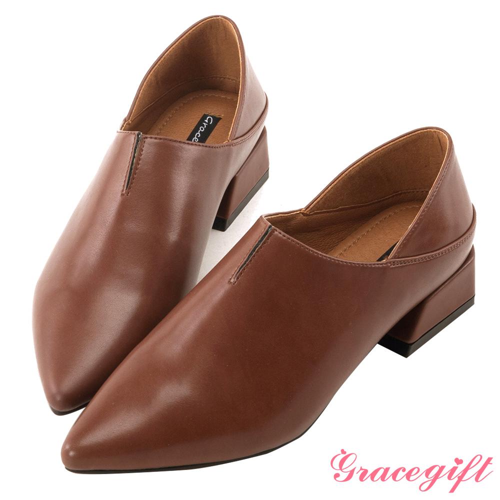 Grace gift-尖頭皮革2way踩腳跟鞋 棕