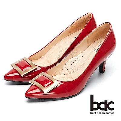 bac時尚美人-方形裝飾漆皮尖頭高跟鞋-紅鏡