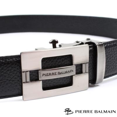 PB 皮爾帕門-經典方框簍空霧面Logo款-頭層牛皮自動扣皮帶-703