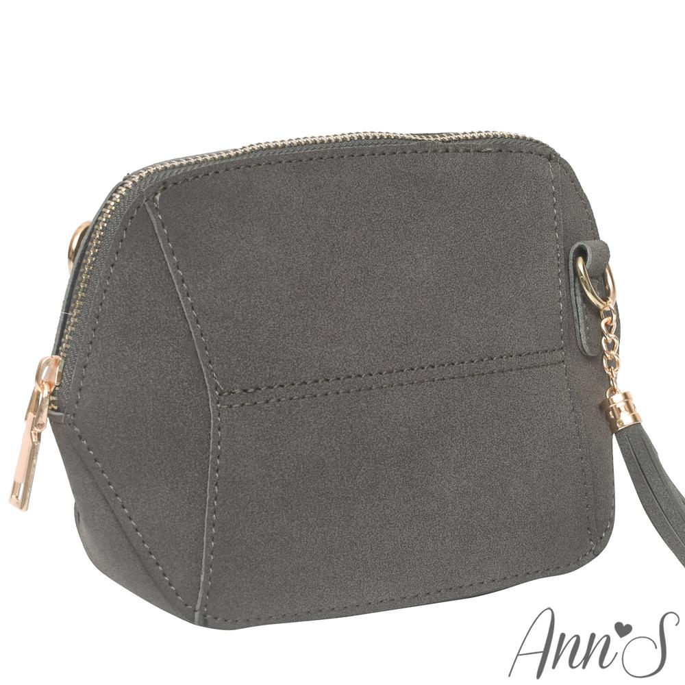 Ann'S SWEET立體拼接素面流蘇肩背小包-灰