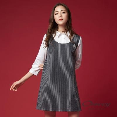 OUWEY歐薇 學院風條紋假兩件洋裝(灰)-動態show