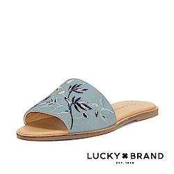 繡花寬帶平底涼拖鞋