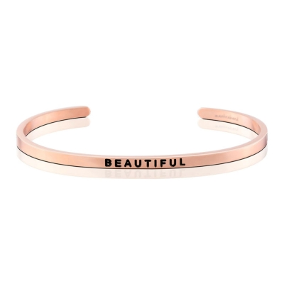 MANTRABAND Beautiful 成就專屬自己的美 悄悄話玫瑰金手環