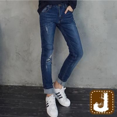 正韓 仿舊風割破抽鬚哈倫褲-(深藍色)100%Korea Jeans