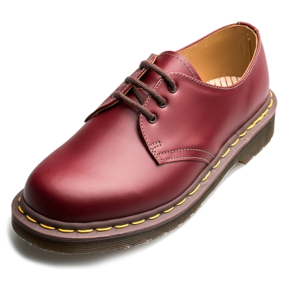 Dr.Martens-英國手工復古VINTAGE1461 3孔馬汀鞋-男款-深紅色