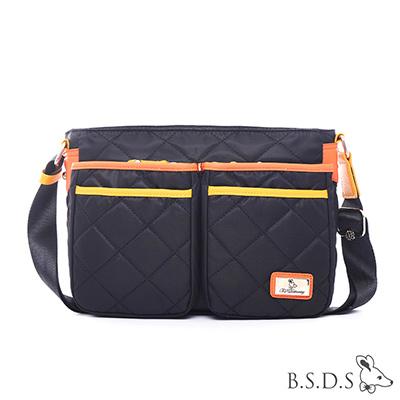 B.S.D.S冰山袋鼠-蘭姆嘉年華x簡約設計雙口袋側背包-樹莓黑