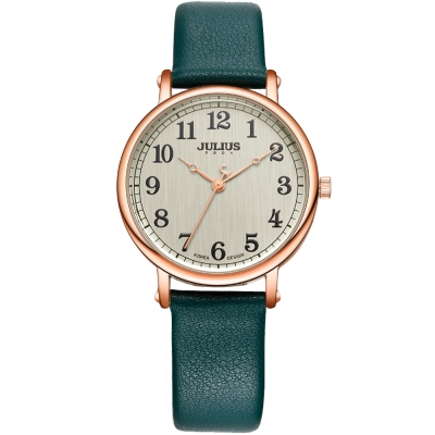 JULIUS聚利時 復刻回憶數字皮革錶帶腕錶-綠色/34mm