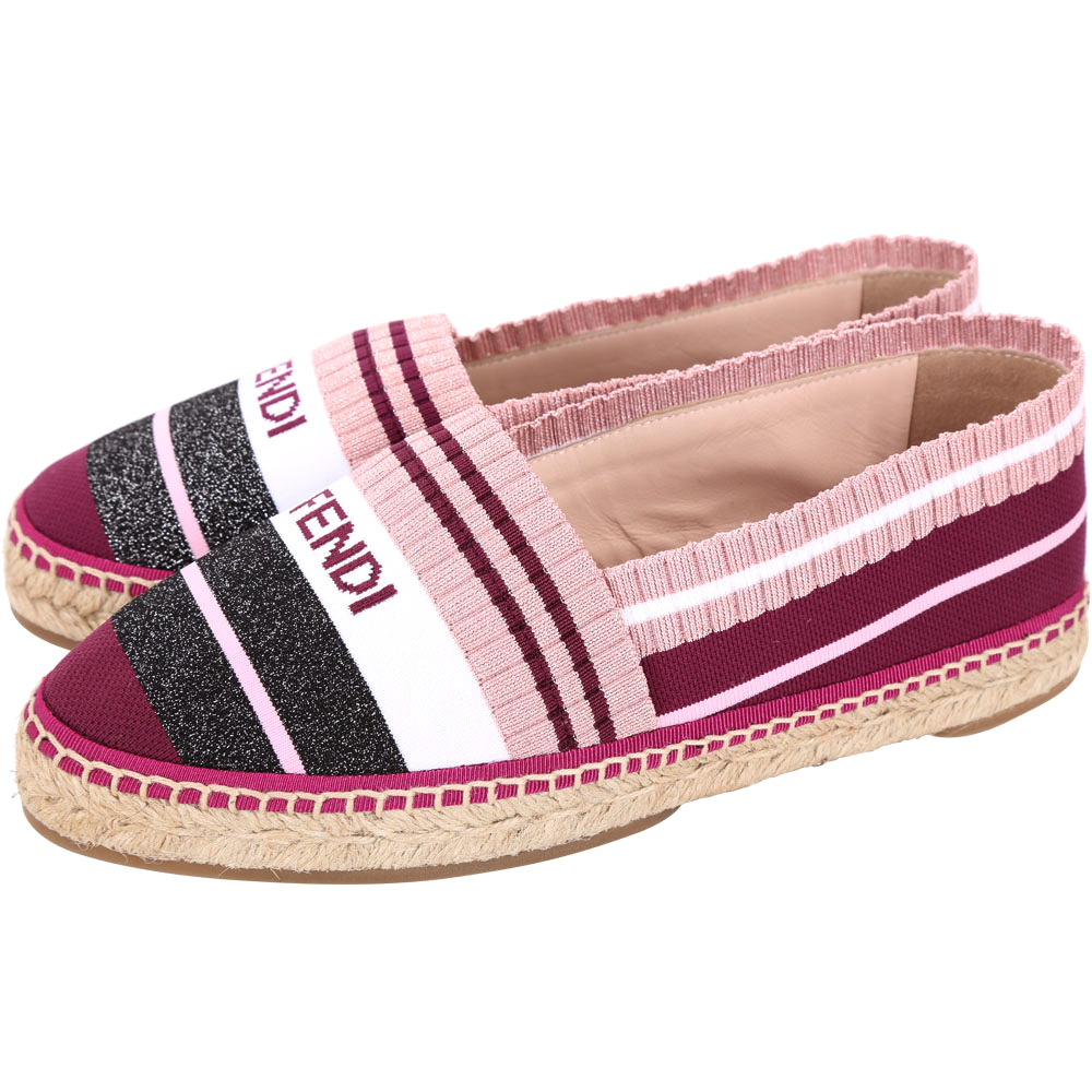 FENDI 粉紫多彩拼色紗線草編鞋