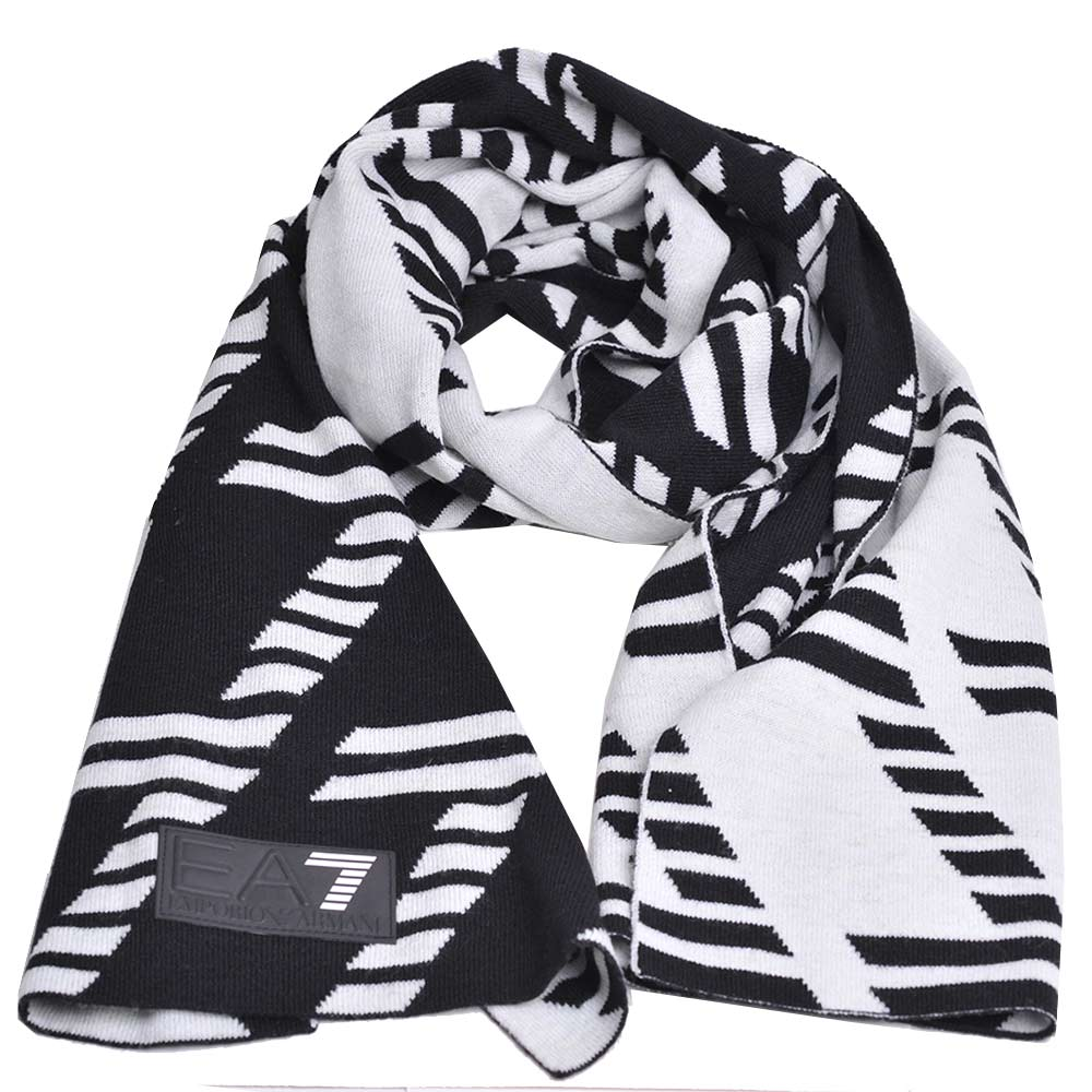 EMPORIO ARMANI EA7大字母LOGO雙面配色高質感圍巾(黑/白)