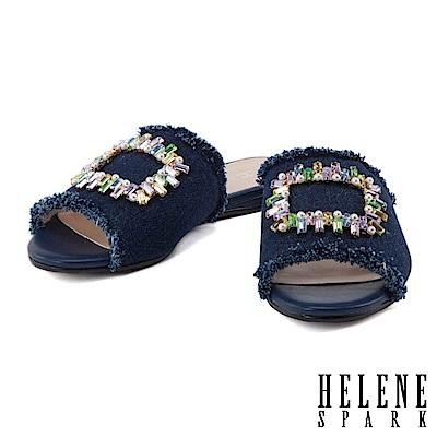 拖鞋 HELENE SPARK 隨性摩登彩色方鑽釦設計不修邊丹寧平底拖鞋-深藍