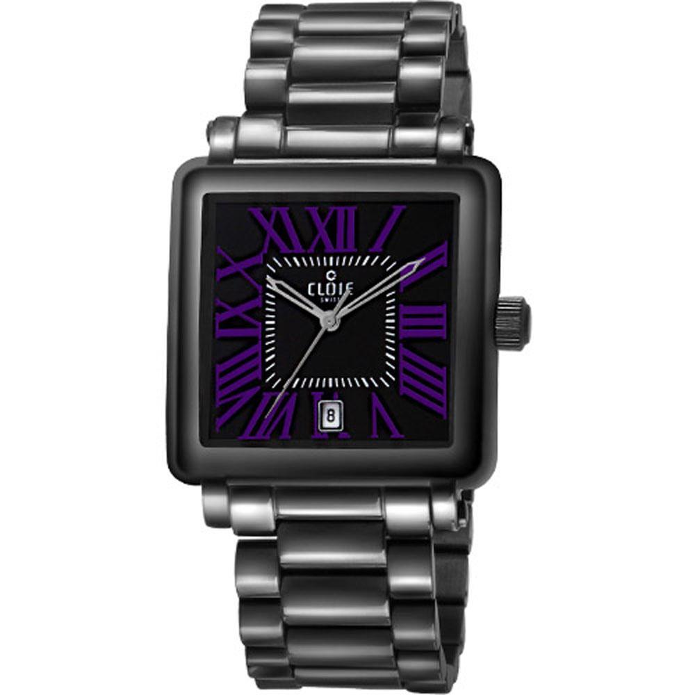 CLOIE 羅馬之愛時尚腕錶-黑x紫時標/29mm