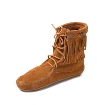 MINNETONKA-DOUBLE FRINGE綁帶雙層流蘇短靴-駝色