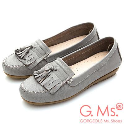 G.Ms. MIT系列-極好穿軟Q牛皮流蘇莫卡辛鞋-淺灰