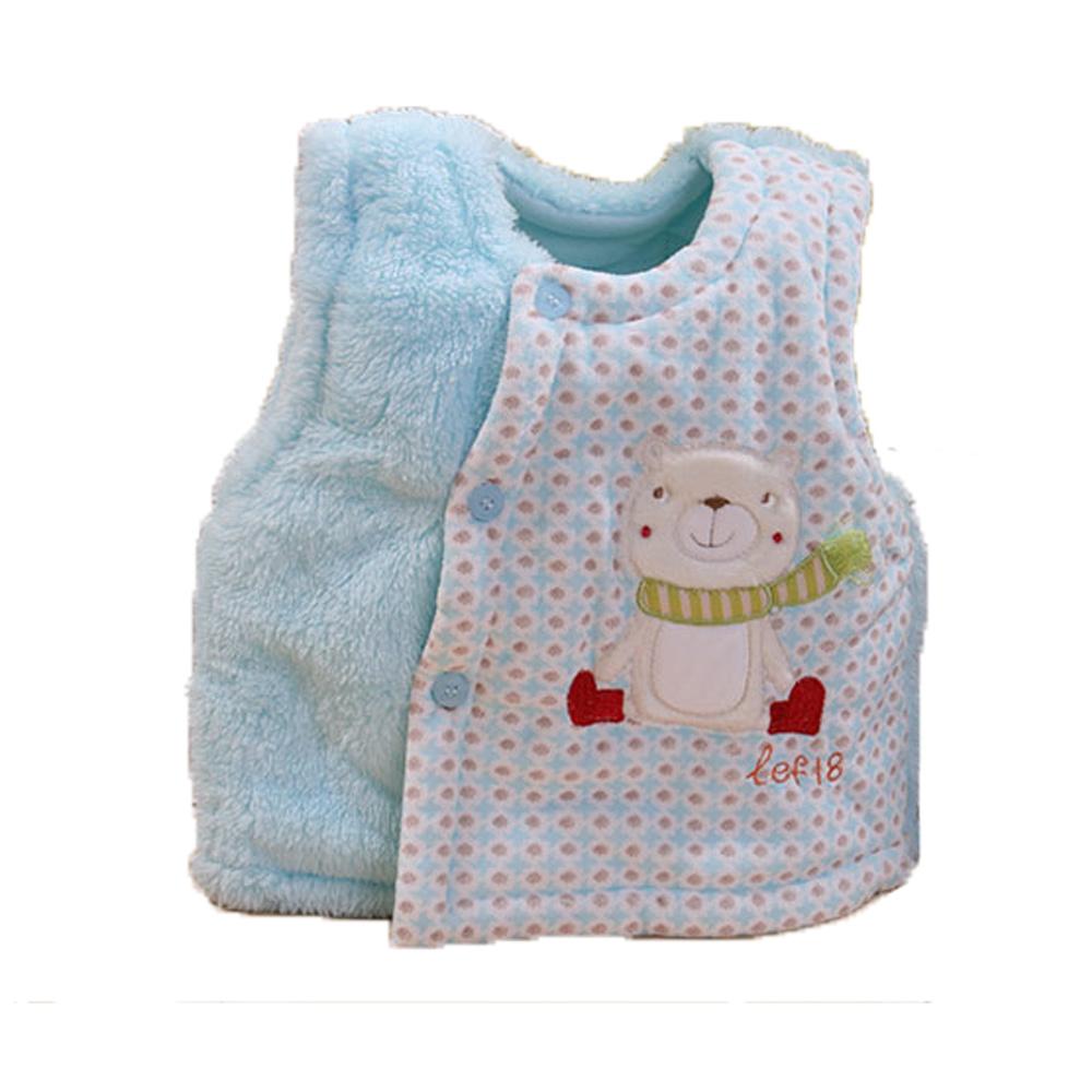圍巾熊厚鋪棉絨毛保暖背心 藍 k60031