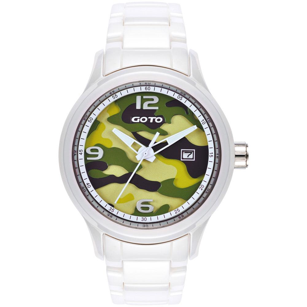GOTO NO.7系列層次迷彩陶瓷腕錶-綠x白/42mm