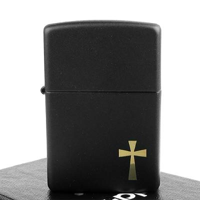 【ZIPPO】美系~Cross金色十字架-黑色烤漆打火機