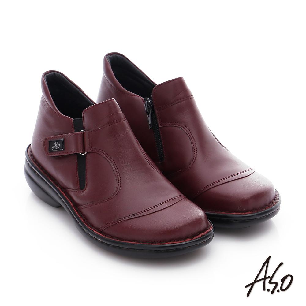 A.S.O 手縫氣墊-3E寬楦 真皮氣墊鞋 酒紅
