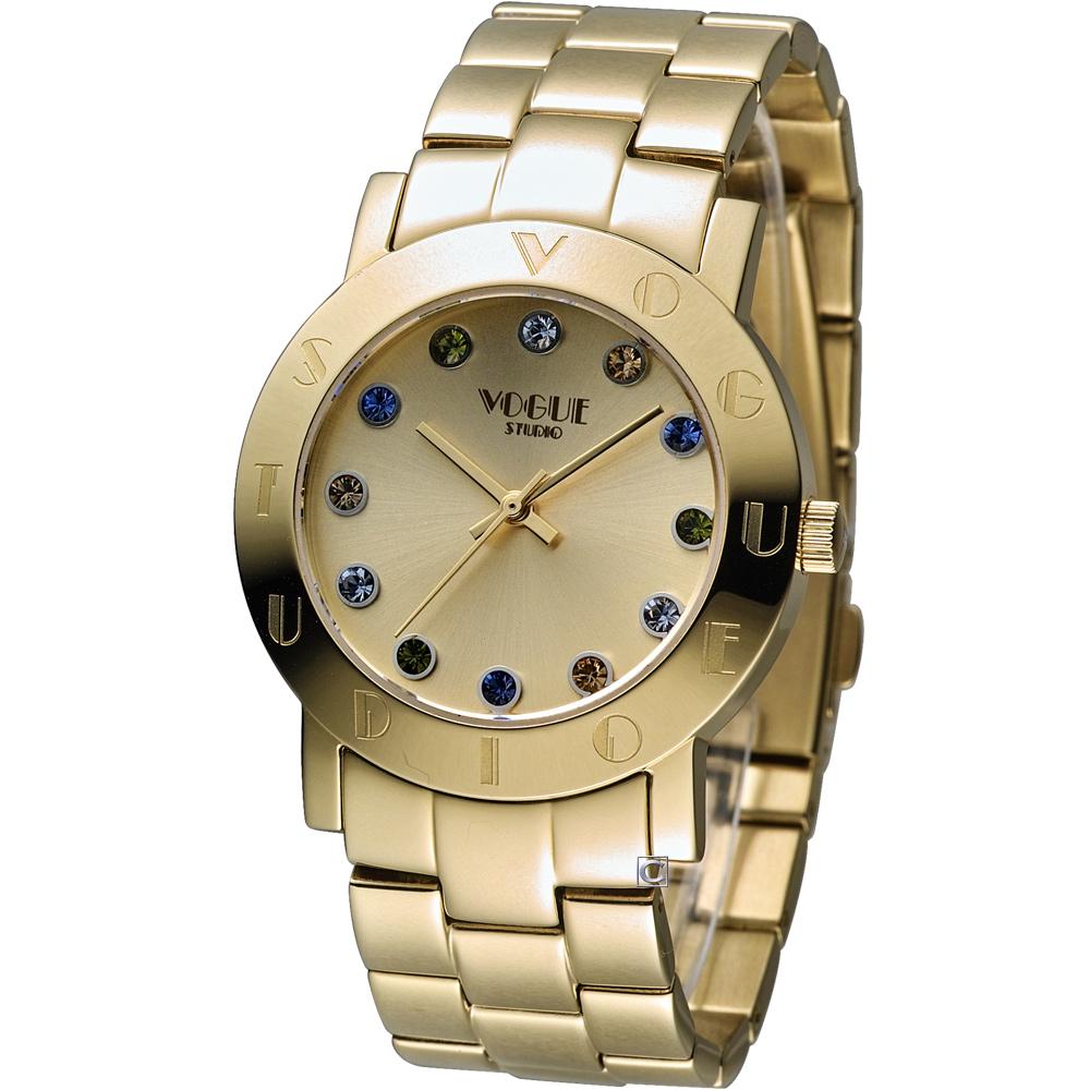 VOGUE 維多利亞奢華時尚腕錶-金色/36mm