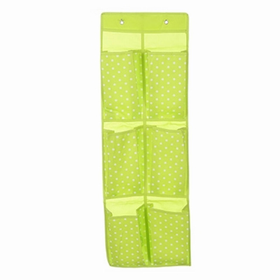 iSFun 牛津點點 內衣雜物收納6格掛袋 綠84x28cm