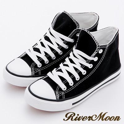 River&Moon休閒鞋-國民百搭中統繫帶帆布鞋-黑