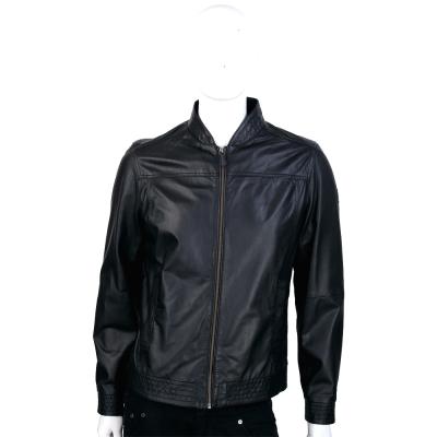 TRUSSARDI 黑色車線設計拉鍊羊皮外套