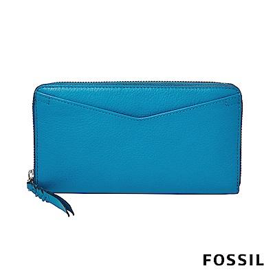 FOSSIL CAROLINE 拉鍊長夾-土耳其藍
