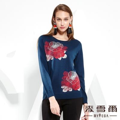 麥雪爾 刺繡義大利羊毛針織上衣-青