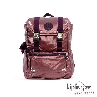 Kipling-後背包-龐克紫素面